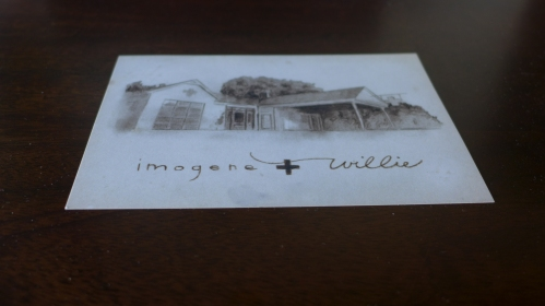 The Imogene & Willie House as represented on a beautiful hand sketched postcard